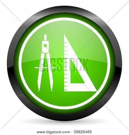 e-learning green glossy icon on white background