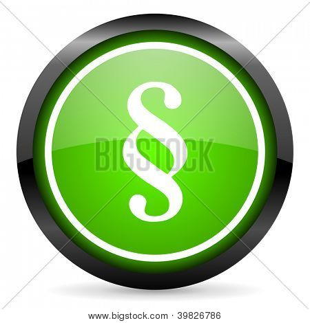 paragraph green glossy icon on white background
