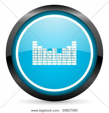 sound blue glossy circle icon on white background