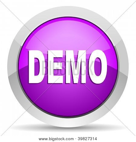 demo violet glossy icon on white background
