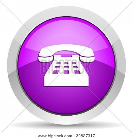 phone violet glossy icon on white background