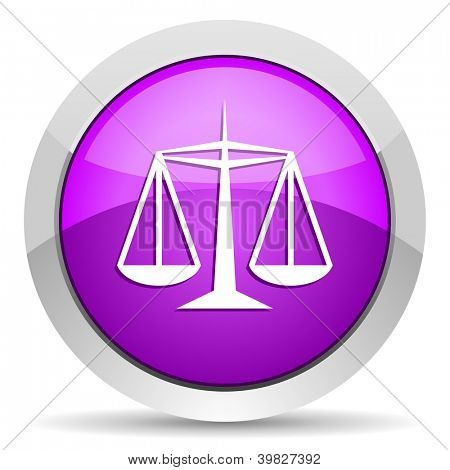 justice violet glossy icon on white background
