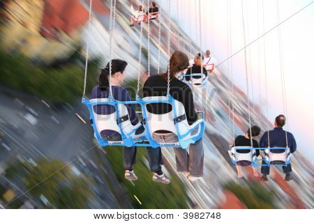 Munich Germany - October 16: People In Chair On Carrousel On Oktoberfest October 16 2007 In Munich G