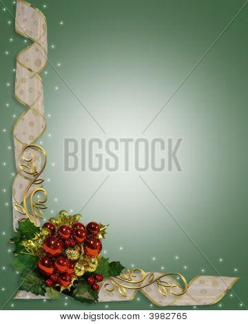 Christmas Border Red Ornaments And Ribbons