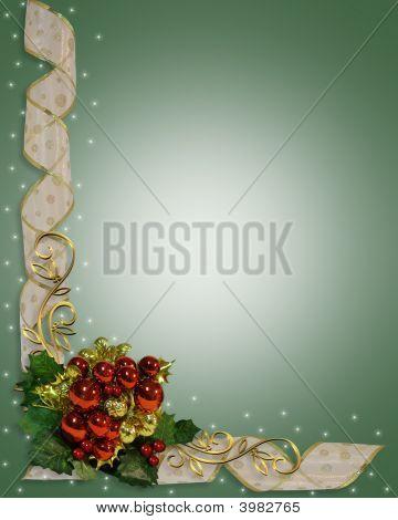 Christmas Border Red Ornaments And Ribbons
