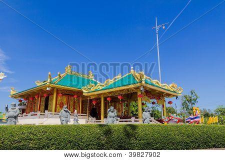 Beautiful Chinese shrine against blue sky background, Phuket, Thailand