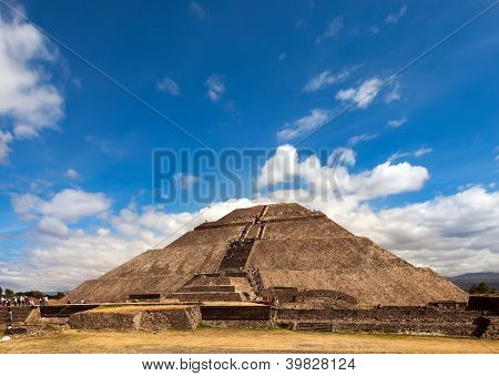 Pyramid of the Sun in Teotihuacan Mexico.