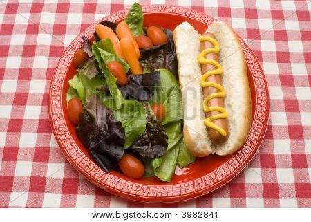 Hot Dog y ensalada