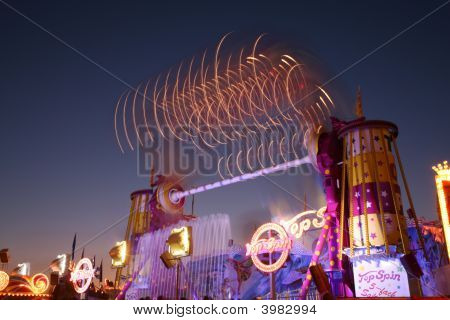 Munich Germany - October 16: Night View Of Attraction On Oktoberfest October 16 2007 In Munich Germa