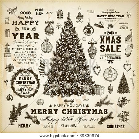 Christmas decoration collection | Set of calligraphic and typographic elements, frames, vintage labels, ribbons, mistletoe, holly berries, fir-tree branches, balls, Christmas socks and snowman.