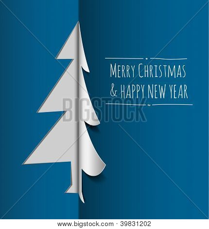 Vector Merry Christmas card with a white tree made from paper