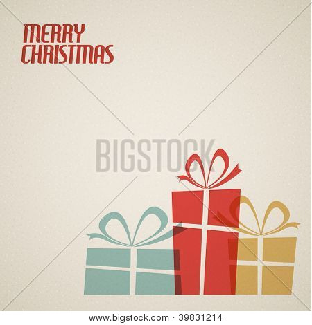 Retro Christmas card with christmas present - teal, brown and red