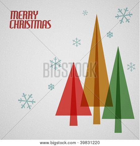 Retro Christmas card with christmas tress and snowflakes - teal, brown and red
