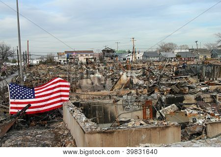 Burned houses in the aftermath of Hurricane Sandy