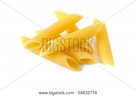 Penne, Italian Raw Pasta, White Background