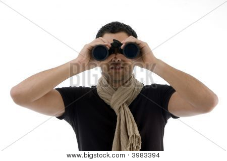 Portrait Of Man Looking Into Binocular