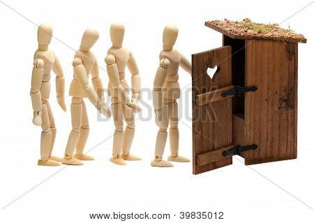 Wooden Dolls In Waiting Line