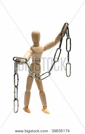 Wooden Doll With Silver Chain