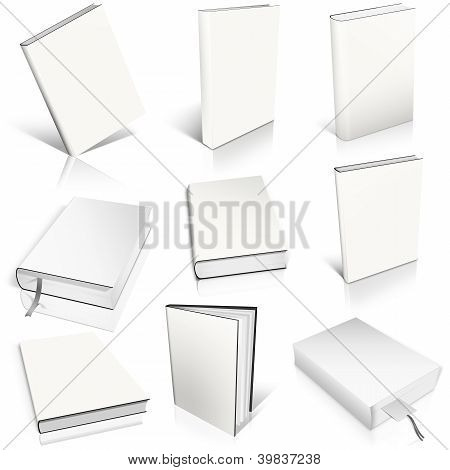 Nine White Empty Book Template