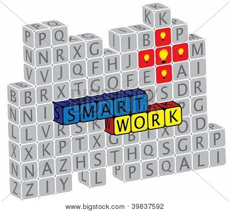Illustration Of Word Smartwork Using Alphabet(text) Cubes. The Graphic Can Represent Concepts Like C