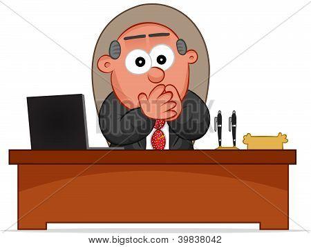 Business Cartoon - Boss Man Surprised