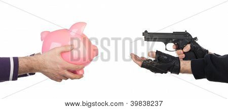 Robber With Gun Taking Piggy Bank From Victim