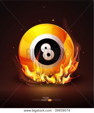Vector burning billiard ball on a dark background