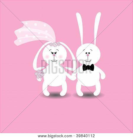 Rabbits Wedding Card