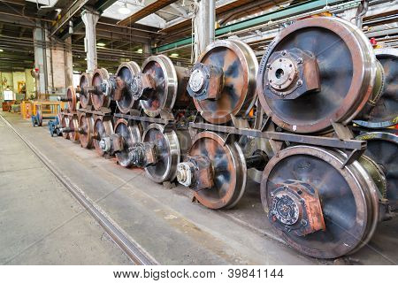 train wheels in heavy factory