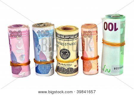 isolated Turkish Lira and dollar