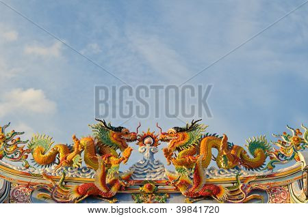 Chinese Style Dragons On Temple's Roof.