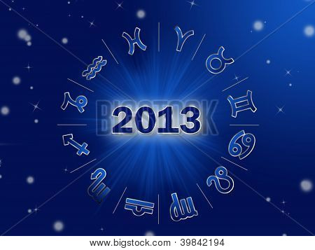 Astro 2013 , horoscope circle with zodiac signs
