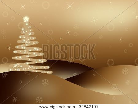 Golden Iluminated Christmas Background
