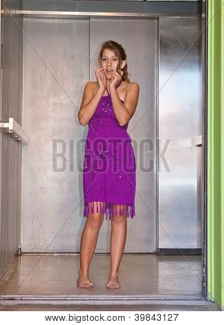 Teen Girl in an Elevator