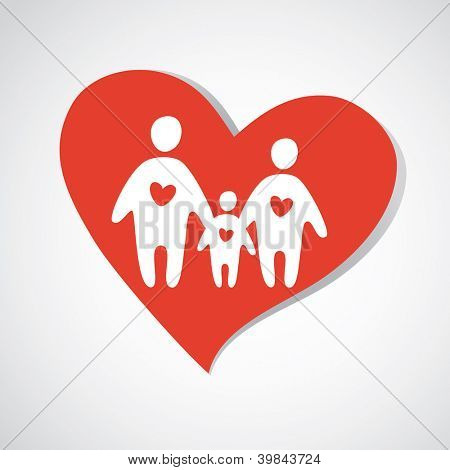 Happy family icon. Vector template