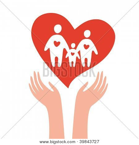Vector sign - take care of family. Template.