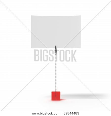 Red stand with card