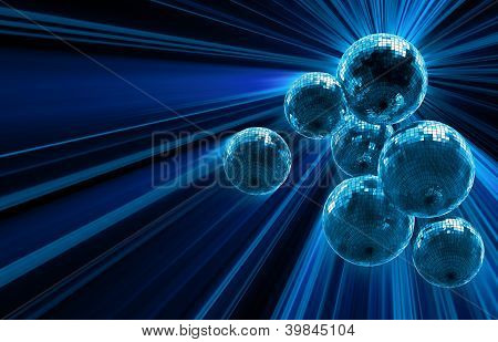 dark background with mirror disco balls