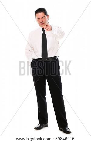 Serious mid aged businessman pointing on you over a white background