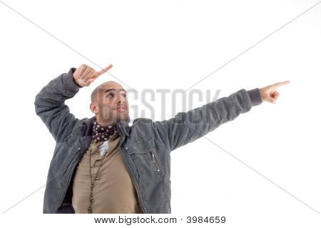 Young Man Pointing Sideways