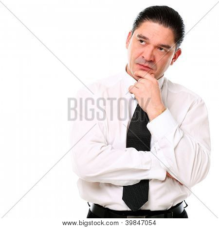 Mid aged businessman thinking over a white background