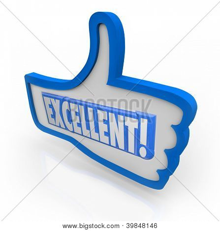The word Excellent to give positive feedback to something you like, representing good, great, awesome, fantastic reviews
