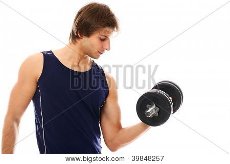 Handsome and sporty guy lifting dumbbell over a white background