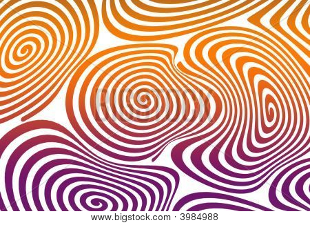 Psychedelic swirling pattern in orange and green