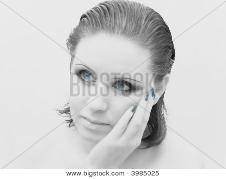 Woman Face In Grey