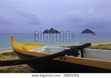 Outrigger Canoe On A Hawaii Beach