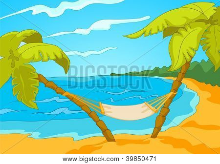 Seascape. Beach, Palms and Surf . Vector Cartoon Background.