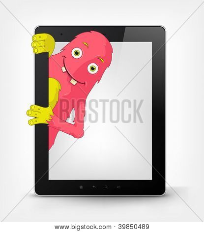 Cartoon Character Funny Monster Isolated on Grey Gradient Background. Tablet. Vector EPS 10.