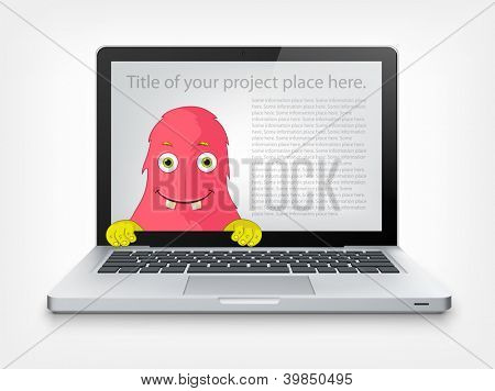 Cartoon Character Funny Monster Isolated on Grey Gradient Background. Laptop. Vector EPS 10.