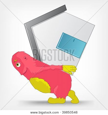 Cartoon Character Funny Monster Isolated on Grey Gradient Background. House. Vector EPS 10.